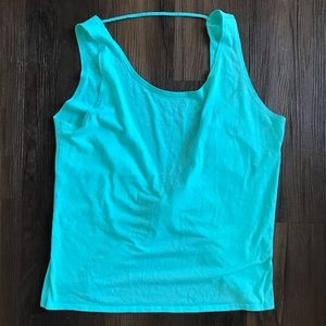 Fabletics teal turquoise open back workout tank